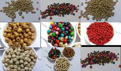 100-500 WOOD WOODEN ROUND BEADS SPACER BEADS JEWELLERY MAKING 3x4mm 8x10mm