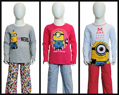 Girls Despicable Me Minions Long Sleeve Pyjamas/nightwear age 6 - 12 years