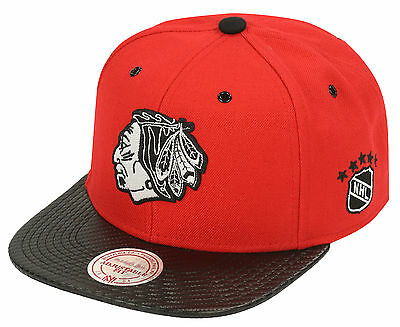 Mitchell & Ness Chicago Blackhawks Speedway Snapback Cap - Red/Black (BNWT)