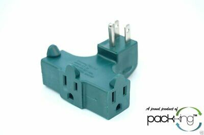 3 Plug Outlet Right Angle 90 Degree Splitter Adapter Plug - Great Behind Chairs!