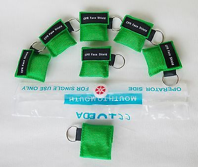 100Pcs Elysaid Green CPR Mask with Keychain cpr Face Shield Key Chain AED