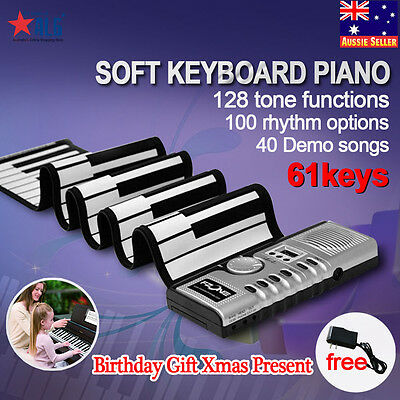 61 Keys Flexible Roll Up Portable Digital Electronic Soft MIDI Keyboard Piano