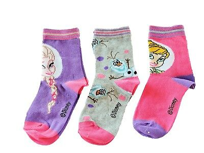 Girls Disney Frozen 3 pack socks Size Uk 6 - 2 and Euro 23-34