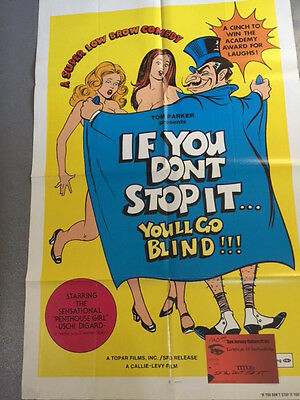 IF YOU DON'T STOP IT YOU'LL GO BLIND!!!  Poster,  highly collectible vintage