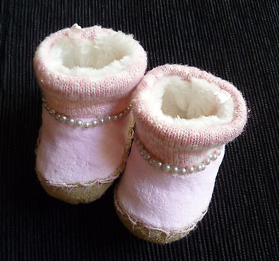 Baby clothes GIRL 3-6m fleece lined pink knitted bootees/slippers COMBINE POST!