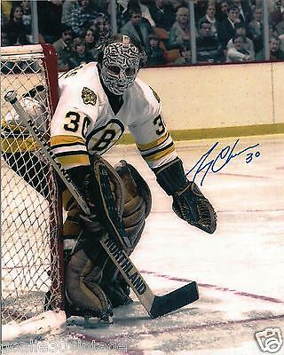 """Gerry Cheevers Autographed Photograph (Vintage Goalie Mask) 8"""" by 10"""" (White)"""