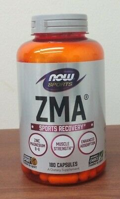 NOW Sports ZMA 180 Capsules Sports Recovery Zinc Magnesium Vitamin B-6 REM Sleep
