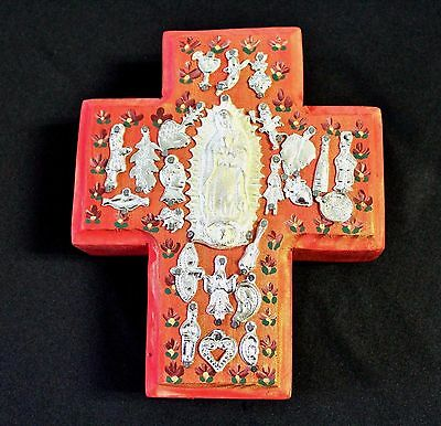 Unique Mexican Wooden Milagro Cross-Red Virgen De Guadalupe  26 by Julia