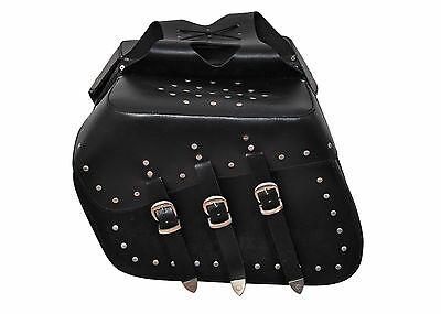 20086 Motorcycle Leather Biker Saddle Bag