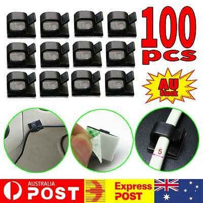 100 Pcs Black Plastic Wire Tie Rectangle Cable Mount Clip Clamp Self-adhesive AU