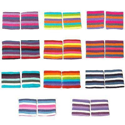 Rib Knitted Elasticated Colourful Striped Wristbands