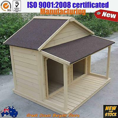 Timber Dog Kennel Wooden Pet House Double Cage Large Dual Room With Front Porch