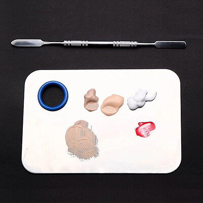 Professional Stainless Steel Cosmetic Makeup Nail Palette Plate with Spatula OZ