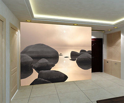 Rounded Rocks Sandy Beach Full Wall Mural Photo Wallpaper Print Home Dec 3D Kids