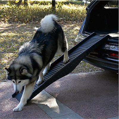 Plastic Folding Dog Ramp Lightweight Pet Car Van Transport Travel Stairs Access