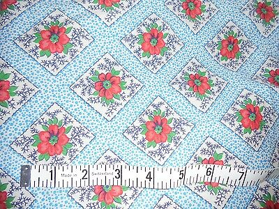 Beautiful vintage fabric material RARE farm estate chic red flowers on blue old