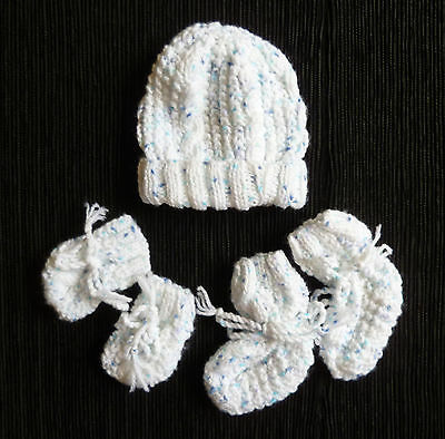 Baby clothes BOY 0-3m hand knitted white/blue fleck hat/bootees/mittens SEE SHOP