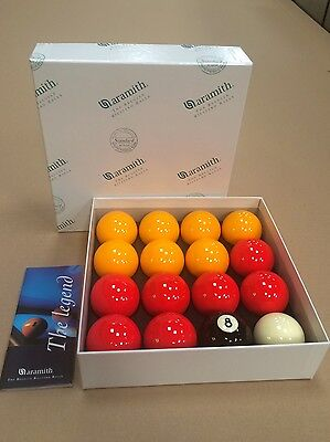 """NEW! OFFICIAL ARAMITH  2"""" RED & YELLOW POOL BALLS with 1 7/8"""" cue ball"""