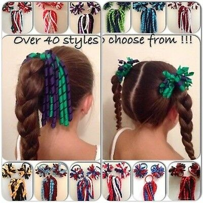 School Sports Cheerleading Netball Korker Elastic Hair Bow Curly Ponytail 3 Pack
