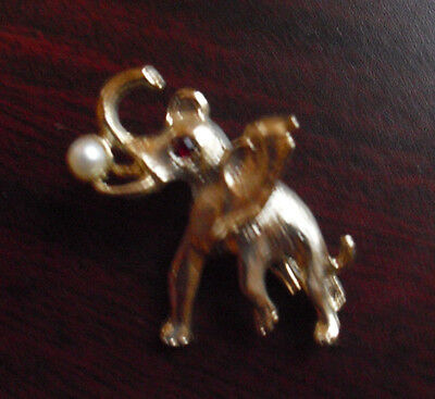 "Vintage 1970s Gold Tone Metal Elephant Pinback 1 1/4"" Tall"