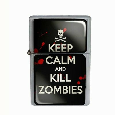 Wind Proof Dual Torch Refillable Lighter Keep Calm and Kill Zombies Design-019