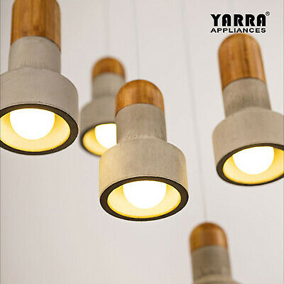 1 or 5 LT Modern Concrete Pendant Light Wood Top Ceiling Lamp 2M Cord E14 Grey