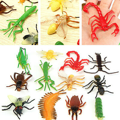 12PCS Plastic Insect Display Models Animal Halloween Jokes Kid Party Fillers Toy