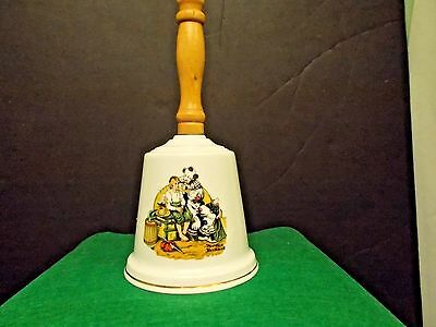 """Norman Rockwell Large 9"""" Procelain Bell /wood Handle By Gorham"""