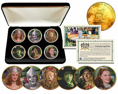 WIZARD OF OZ Eisenhower IKE Dollar 6-Coin Set 24K Gold Plated w/Display Box