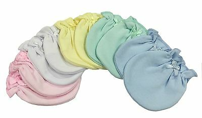 Solid Color Mix 6 Cotton Newborn Baby/infant No Scratch Mittens Gloves