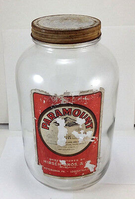 Vtg Ball Gallon Glass Jar Paramount Salad Dressing w lid Louisville Pittsburgh