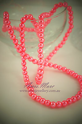 140pcs 6mm Orange Pink Color Faux Imitation Acrylic Round Loose Pearl Spacer