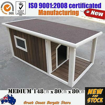 Brand New X-Large Wooden Pet Window House Timber Dog Porch  Kennel  Hinged Top