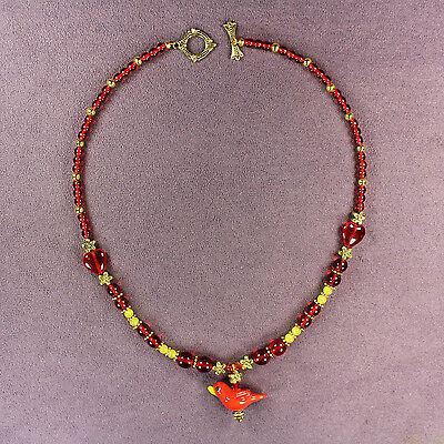 RED CARDINAL TOTEM NECKLACE Attraction Bird Symbol Sign Passion Yellow Gold