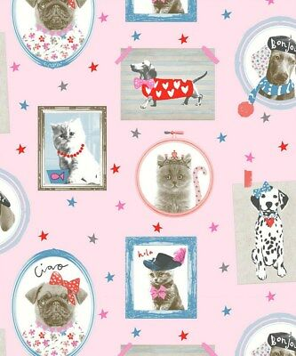 Arthouse Hall of Fame Pink Wallpaper 668401. Glitter Childrens Dog