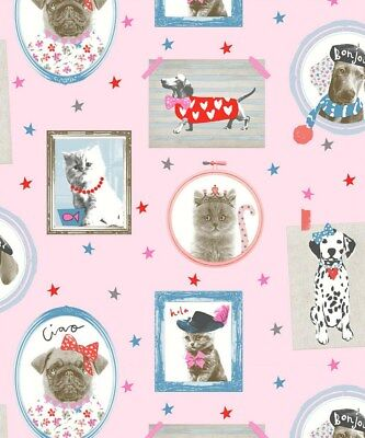 Arthouse Hall of Fame Pink Wallpaper 668401 - Glitter Childrens Dog