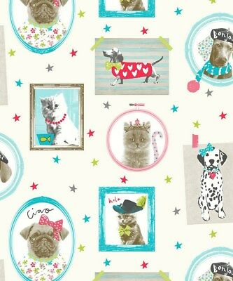 Arthouse Hall of Fame Cream Wallpaper 668400 - Glitter Childrens Dog