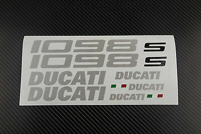 DUCATI 1098 1098s fairing tank stickers decals S brushed aluminum oem size