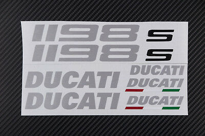 DUCATI 1198 1198s fairing tank stickers decals S brushed aluminum oem size