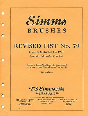 Old 1951 SIMMS BRUSHES price list booklet Saint John NB No. 79