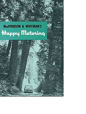 Old 1950's Tourist guide MacPherson & Whitman's HAPPY MOTORING booklet