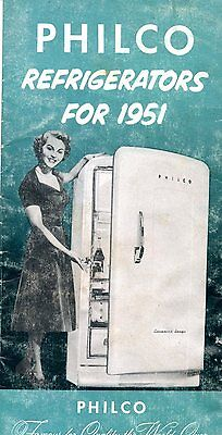 Old PHILCO  1951 REFRIGERATORS pamphlet fold out with prices WOW, expensive!