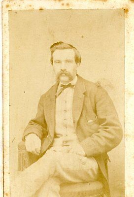 Old B/W photo CDV  young man MR. RUTHERFORD impressive moustache