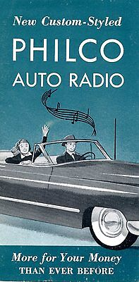 Old PHILCO AUTO radios car 1950's fold out pamphlet