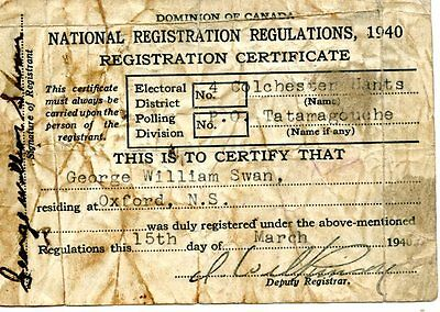 Old 1940 voter's registration certificate card DOMINION OF CANADA NRR