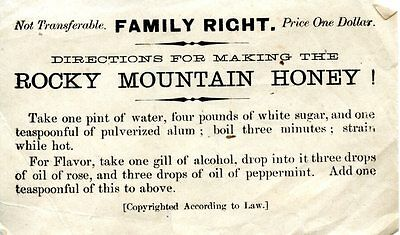 Old DIRECTIONS for making the ROCKY MOUNTAIN HONEY Recipe FAMILY RIGHT