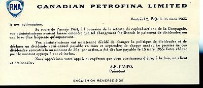 old CANADIAN PETROFINA LIMITED 1964 shareholder notice FINA