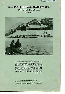 Old booklet THE PORT ROYAL HABITATION NS Canada 1963