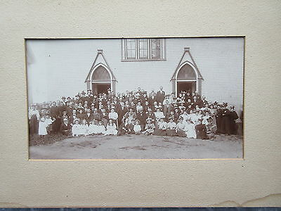 Antique Cabinet Photo Congregation Outside of Church