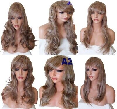 BLONDE mix real Natural Long Curly Straight Wavy Women Fashion Ladies Hair WIG